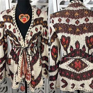 Flower Pattern Loose Knit Cardigan Pom Pom Trim